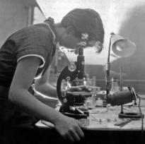 Rosalind Elsie Franklin in un laboratorio di Londra