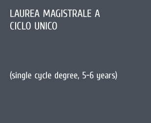 Laurea magistrale a ciclo unico (single cycle degree, 5-6 years)